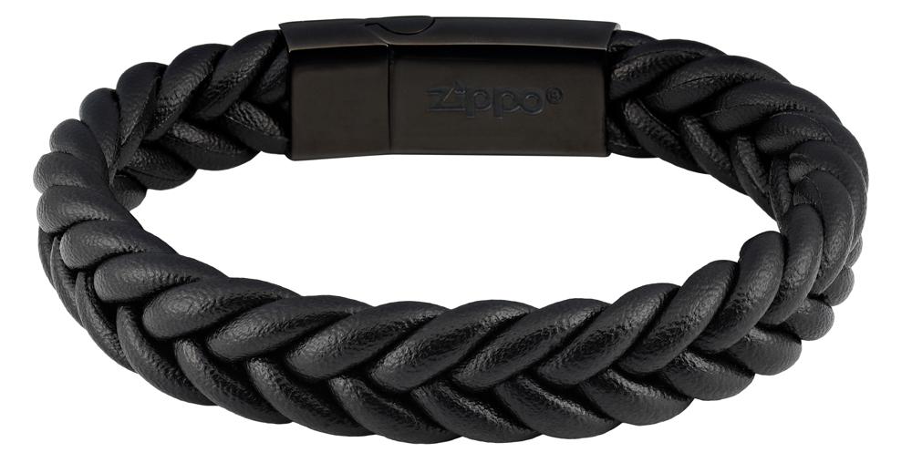 Браслет Zippo wicker, чёрный, нержавеющая сталь, натуральная плетёная кожа косичка, 1,40x0,80 см