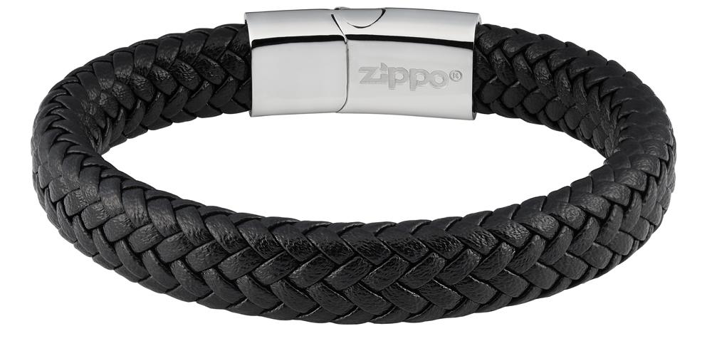 Браслет Zippo double wicker, чёрный, нержавеющая сталь/натуральная плетёная кожа, 1,20x0,80 см