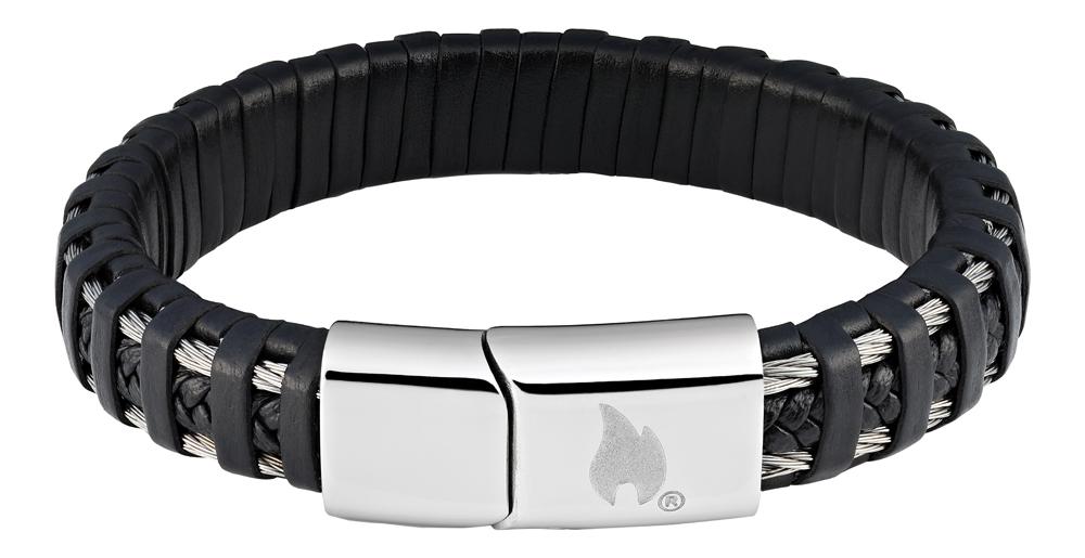 Браслет Zippo steel cable, чёрный, нержавеющая сталь/натуральная плетёная кожа, 1,40x0,80