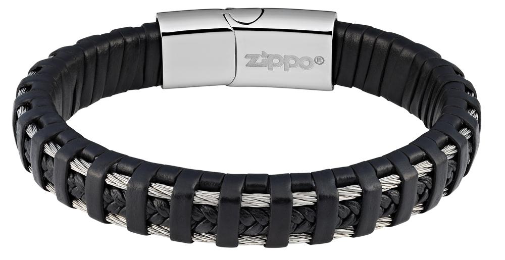 Браслет Zippo steel cable, чёрный, нержавеющая сталь, натуральная плетёная кожа, 1,40x0,80