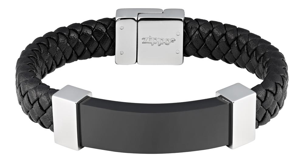 Браслет Zippo netting mesh, чёрный, нержавеющая сталь, натуральная кожа, 1,40x0,80 см