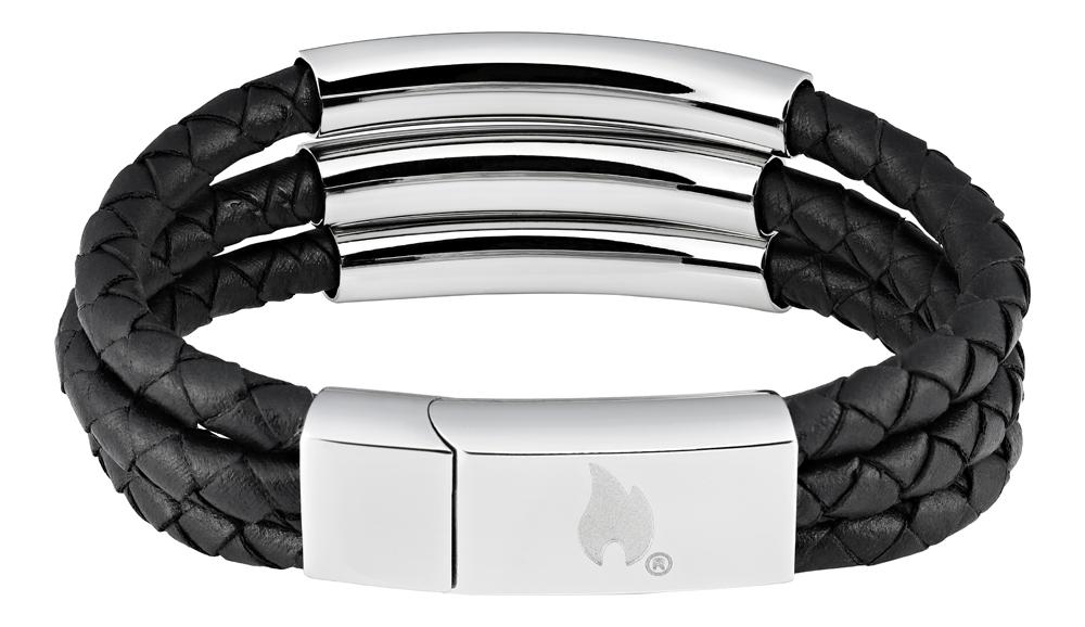Браслет Zippo three weave, чёрный, нержавеющая сталь/натуральная кожа, 1,85x0,80 см