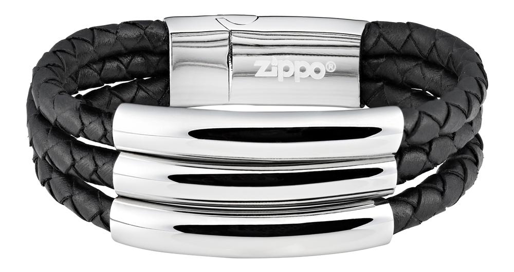 Браслет Zippo three weave, чёрный, нержавеющая сталь, натуральная кожа, 1,85x0,80 см