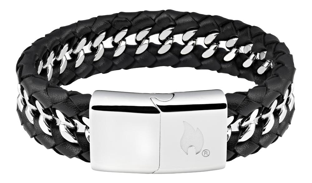 Браслет Zippo, чёрный, нержавеющая сталь/натуральная кожа, 1,80x0,70 см