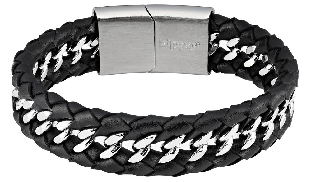 Браслет Zippo, чёрный, нержавеющая сталь, натуральная кожа, 1,80x0,70 см