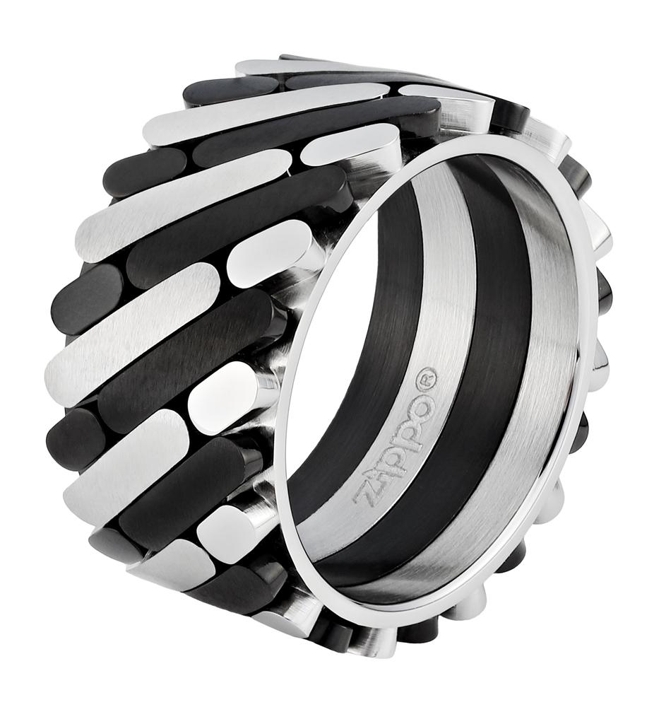 Кольцо Zippo, серебристо-чёрное, нержавеющая сталь, 1,2x0,25 см, диаметр 17,8 мм