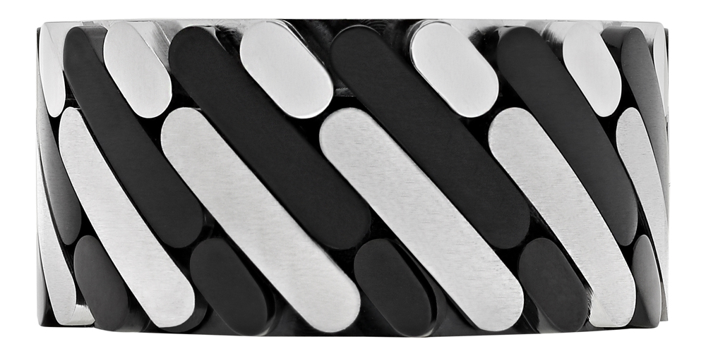 2006244 Кольцо Zippo, серебристо-чёрное, нержавеющая сталь, 1,2x0,25 см, диаметр 17,8 мм