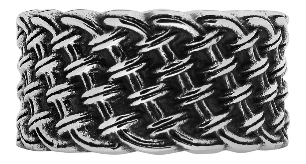 Кольцо Zippo, серебристое, с плетёным орнаментом, нержавеющая сталь, 1,2x0,2 см