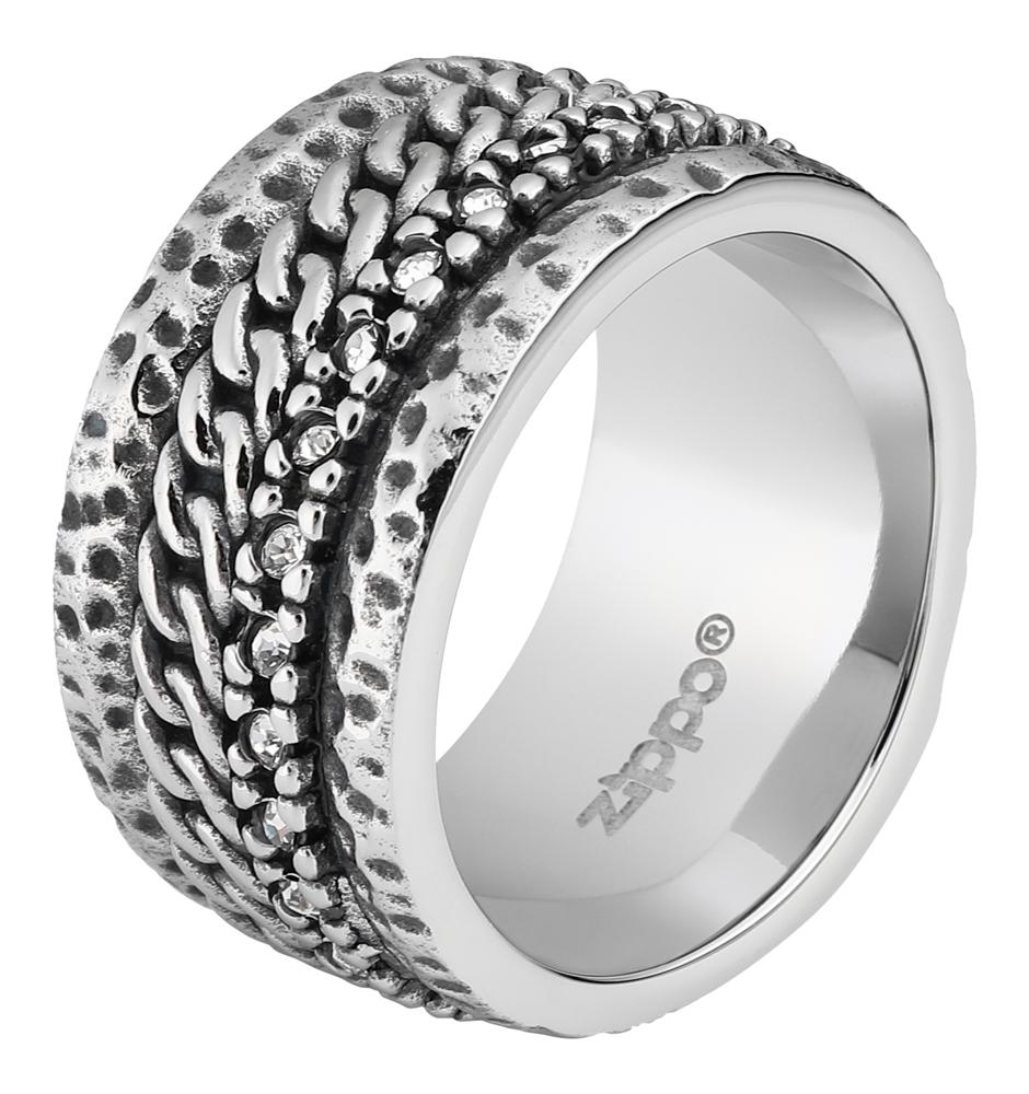 Кольцо Zippo, серебристое, с цепочным орнаментом, нержавеющая сталь, 1,2x0,25 см, диаметр 19,1 мм