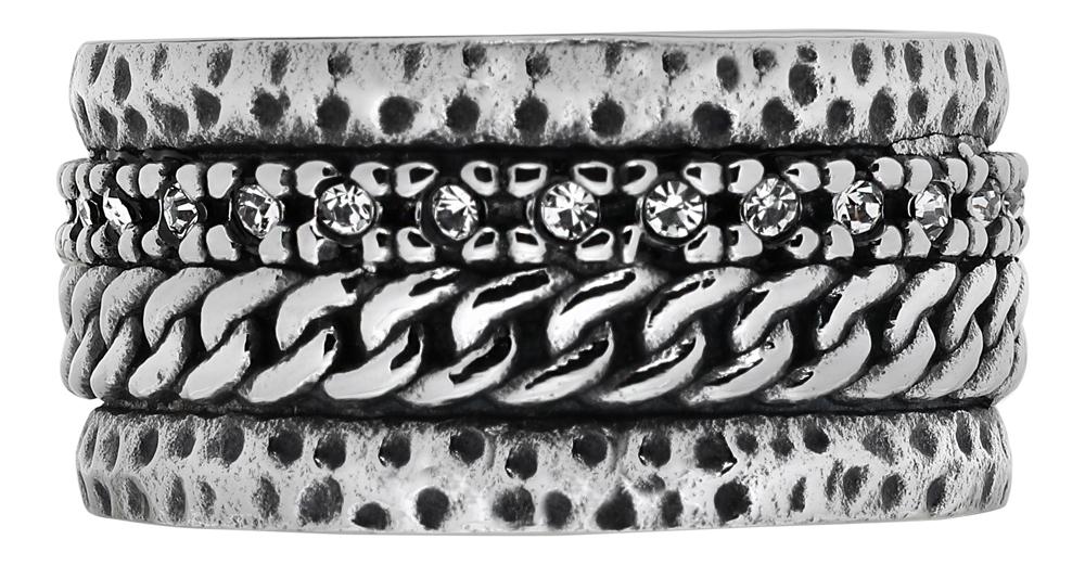 Кольцо Zippo, серебристое, с цепочным орнаментом, нержавеющая сталь, 1,2x0,25 см