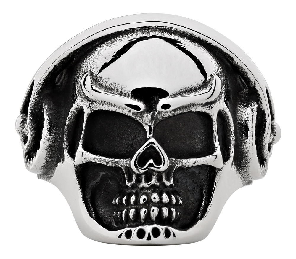 Кольцо Zippo, серебристое, форма черепа, нержавеющая сталь, 2,5x2,6x0,6 см, диаметр 19,7 мм