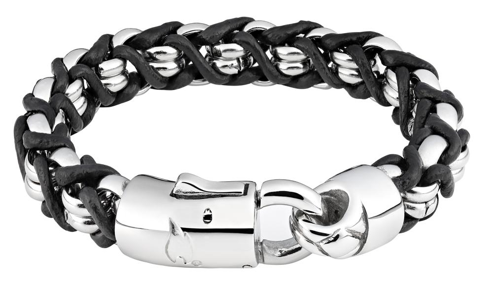 Браслет Zippo, чёрно-серебристый, нержавеющая сталь/натуральная кожа, 1,1x1 см