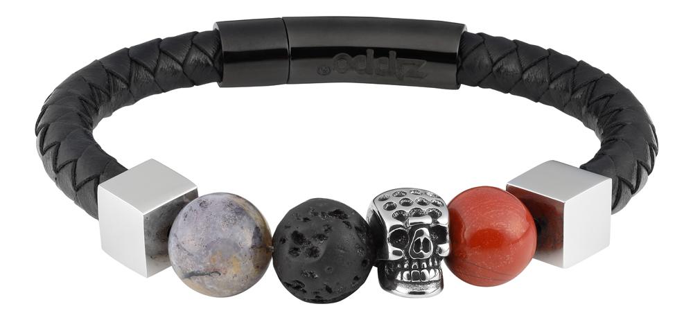 Браслет Zippo, чёрный, нержавеющая сталь/натуральная кожа/природные камни, 1x1 см
