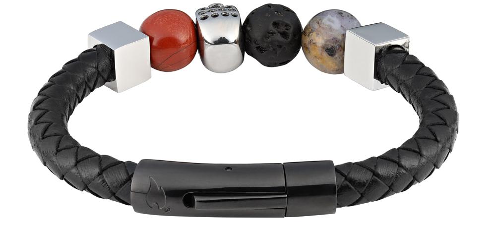 Браслет Zippo, чёрный, нержавеющая сталь, натуральная кожа, природные камни, 1x1 см