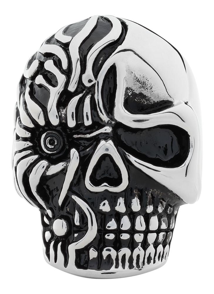 Кольцо Zippo, серебристое, форма черепа, нержавеющая сталь, 2,3x3,3x0,5 см, диаметр 19,1 мм