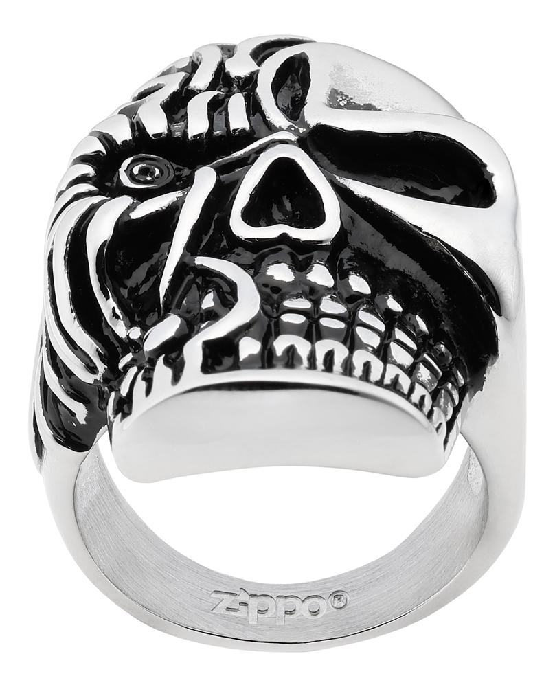 Кольцо Zippo, серебристое, форма черепа, нержавеющая сталь, 2,3x3,3x0,5 см