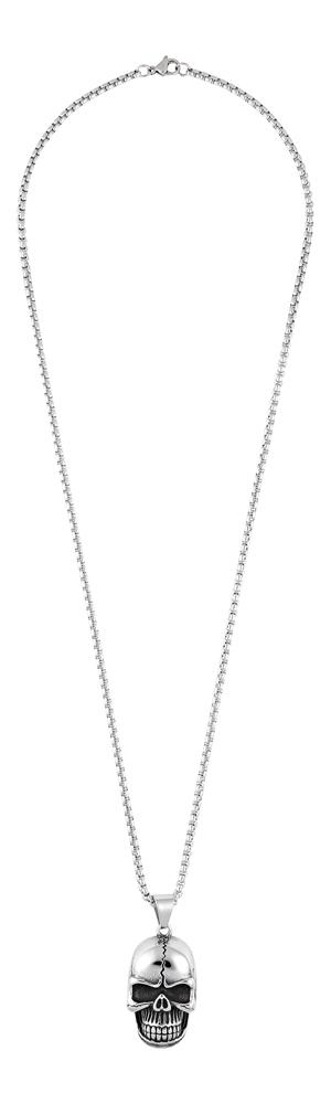 2006290 Подвеска Zippo, серебристая, форма черепа, с цепочкой 60 см, нержавеющая сталь, 2,2x3,9x1,5 см
