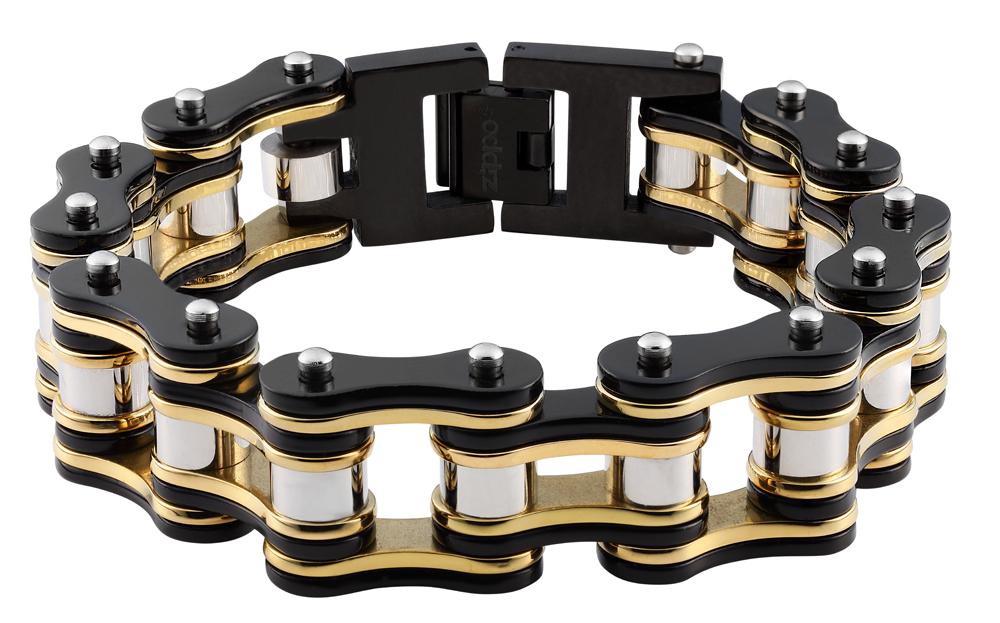 Браслет Zippo motorcycle chain, чёрно-золотистый, форма мотоцепи, нержавеющая сталь, 1,60x0,80 см