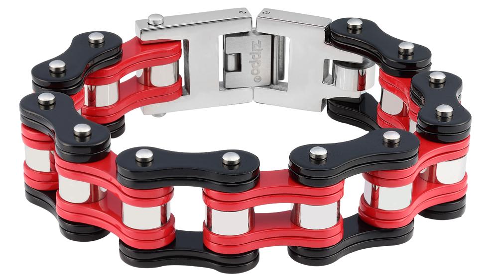 Браслет Zippo, чёрно-красный, форма мотоциклетной цепи, нержавеющая сталь, 1,60x0,80 см