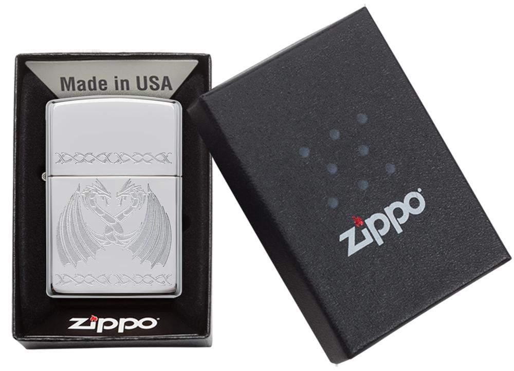 29988 Зажигалка Zippo Dancing Dragons, Polish Chrome упаковка