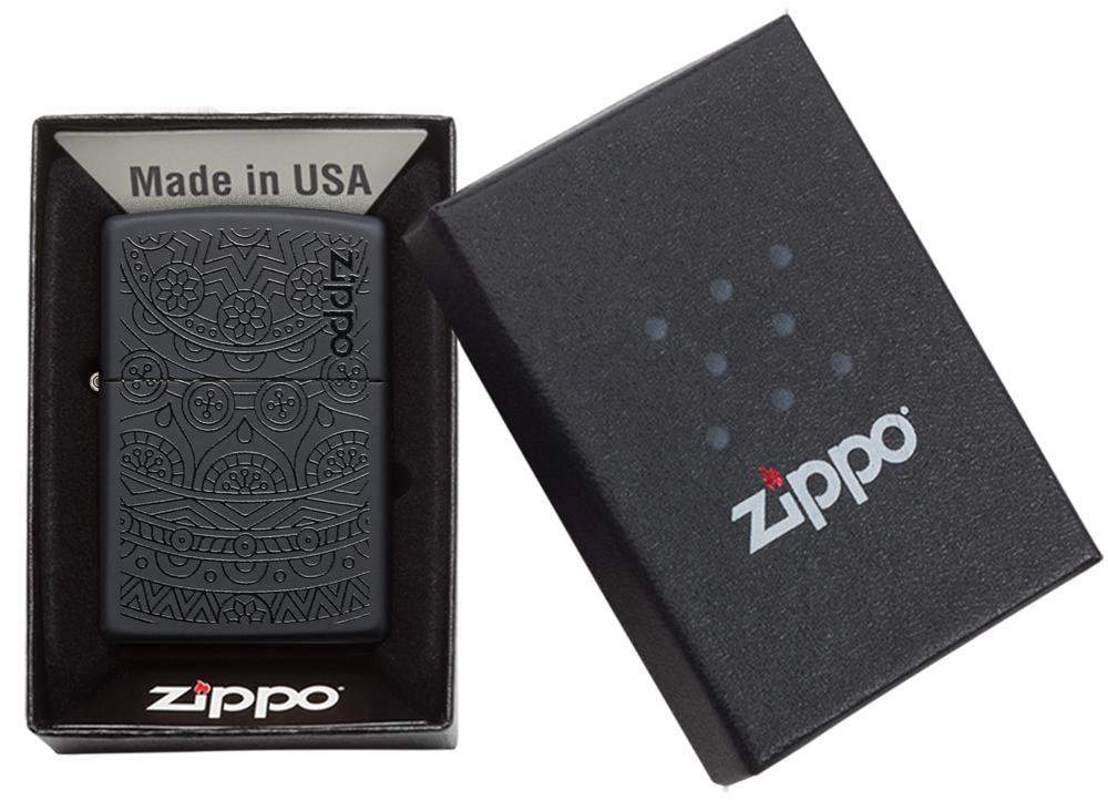 29989 Зажигалка Zippo Tone on Tone Design, Black Matte упаковка