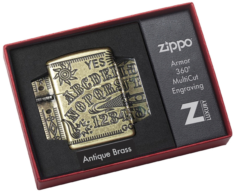 49001 Зажигалка Zippo Ouija Board Design, Armor Antique Brass