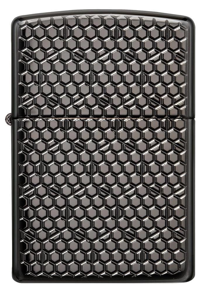 49021 Зажигалка Zippo Hexagon Design, Armor Black Ice
