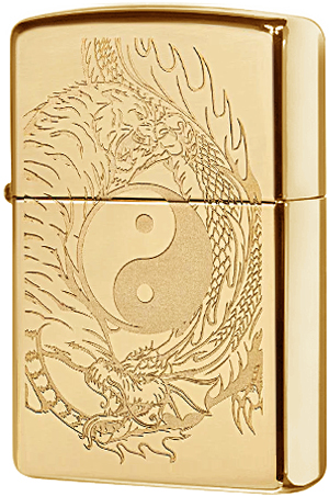49024 Зажигалка Zippo Tiger and Dragon, Polish Brass
