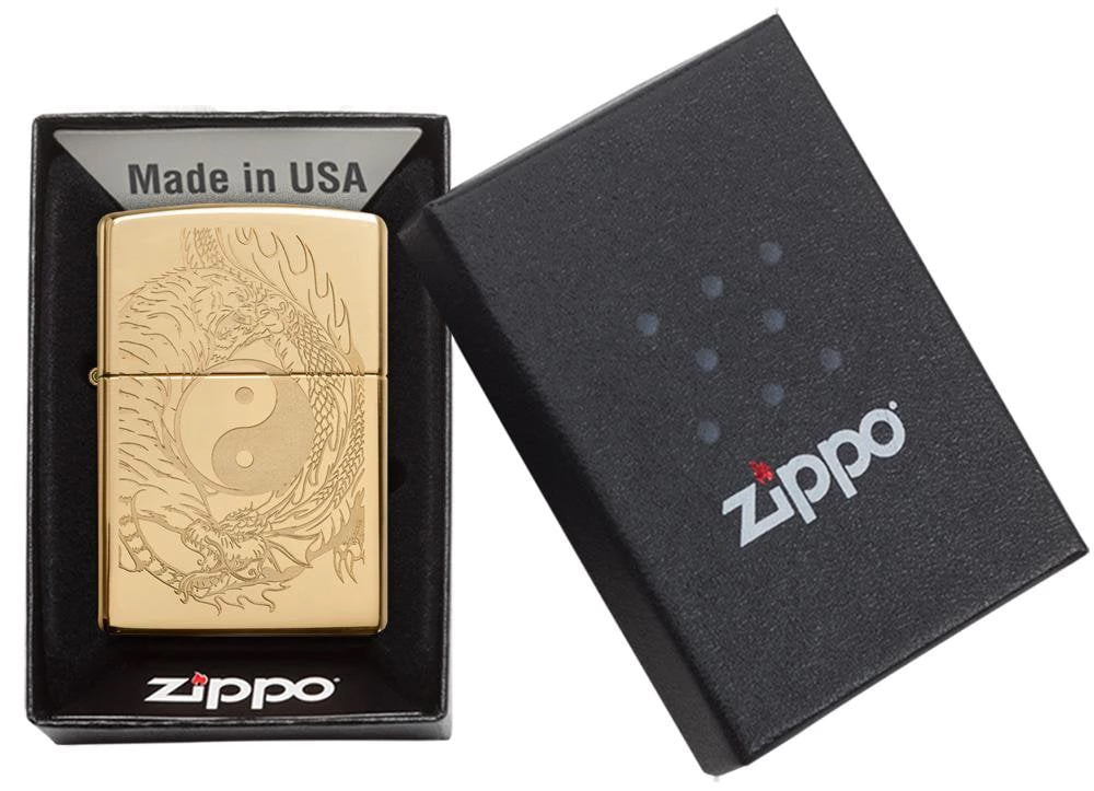 49024 Зажигалка Zippo Tiger and Dragon, Polish Brass упаковка