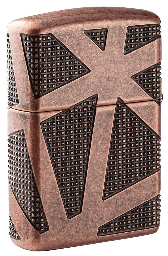49036 Зажигалка Zippo Geometric 360, Armor Antique Copper