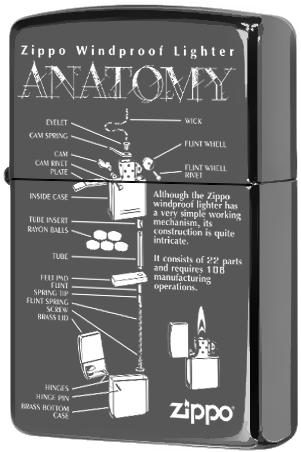 150 Anatomy Зажигалка Zippo Guarantee, Black Ice лицевая сторона