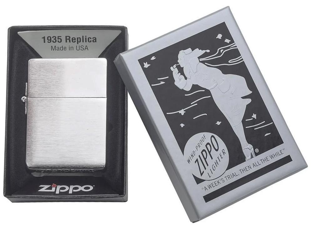 1935.25 Зажигалка Zippo Replica, Brushed Chrome