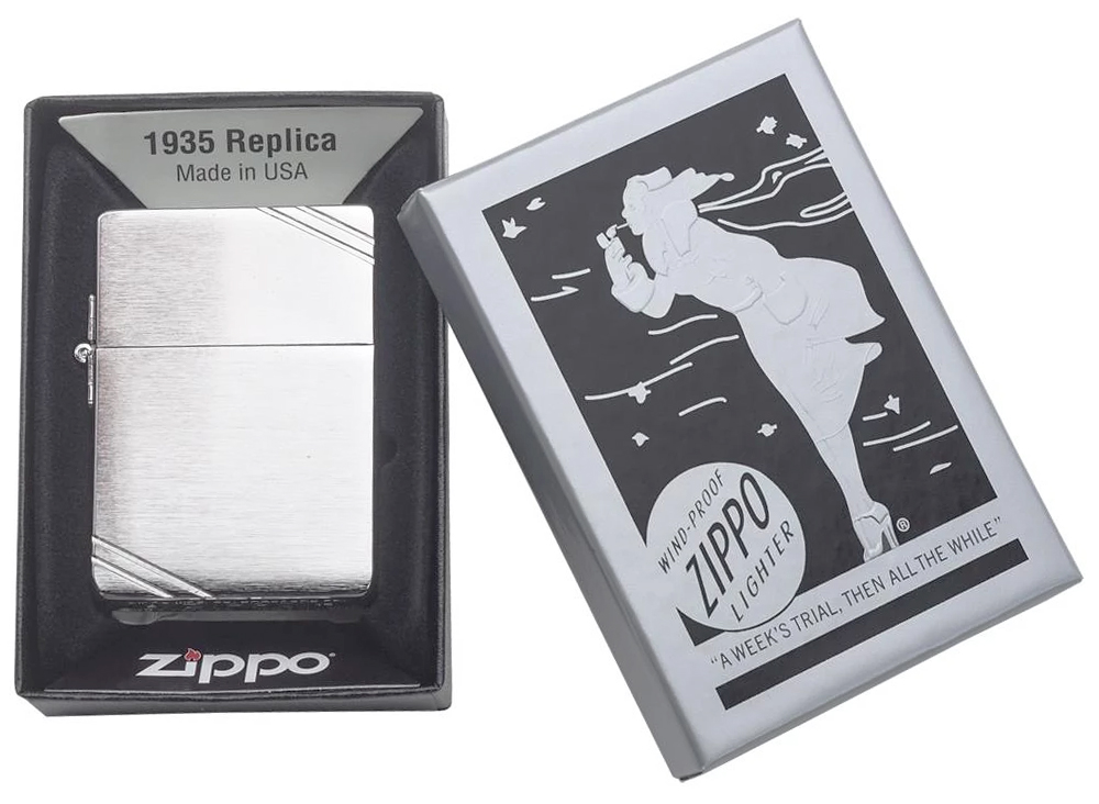 1935 Зажигалка Zippo Replica, Brushed Chrome