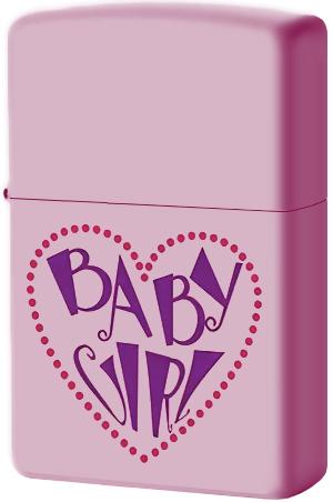 238 Зажигалка Zippo Baby Girl Heart, Pink Mate