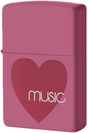 24014 Зажигалка Zippo Heart Music, Carnation Matte
