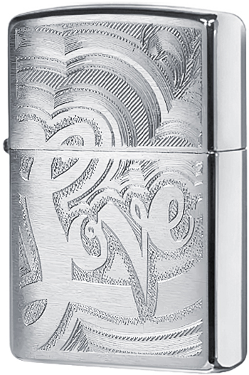 24257 Зажигалка Zippo Love 70's, Brushed Chrome