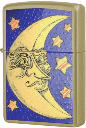 24444 Зажигалка Zippo Face Moon, Honey Gold