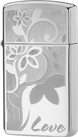 24816 Зажигалка Zippo Love Flower Slim, Polish Chrome