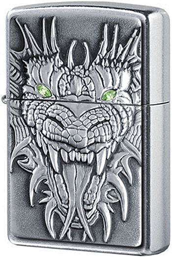 24901 Зажигалка Zippo Mighty Dragon Emblem, Street Chrome