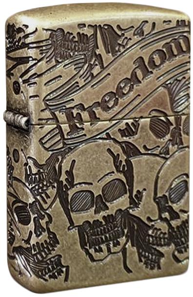 49035 Зажигалка Zippo Freedom Skull, Armor Antique Brass