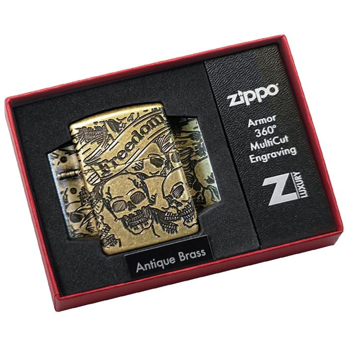 49035 Зажигалка Zippo Freedom Skull, Armor Antique Brass49035 Зажигалка Zippo Freedom Skull, Armor Antique Brass
