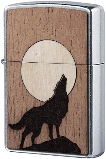 49043 Зажигалка Zippo WOODCHUCK USA Howling Wolf, Street Chrome