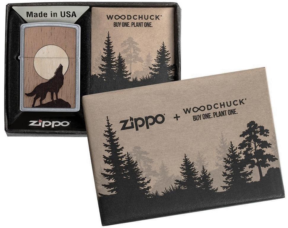 49043 Зажигалка Zippo WOODCHUCK USA Howling Wolf, Street Chrome - специальная подарочная коробка