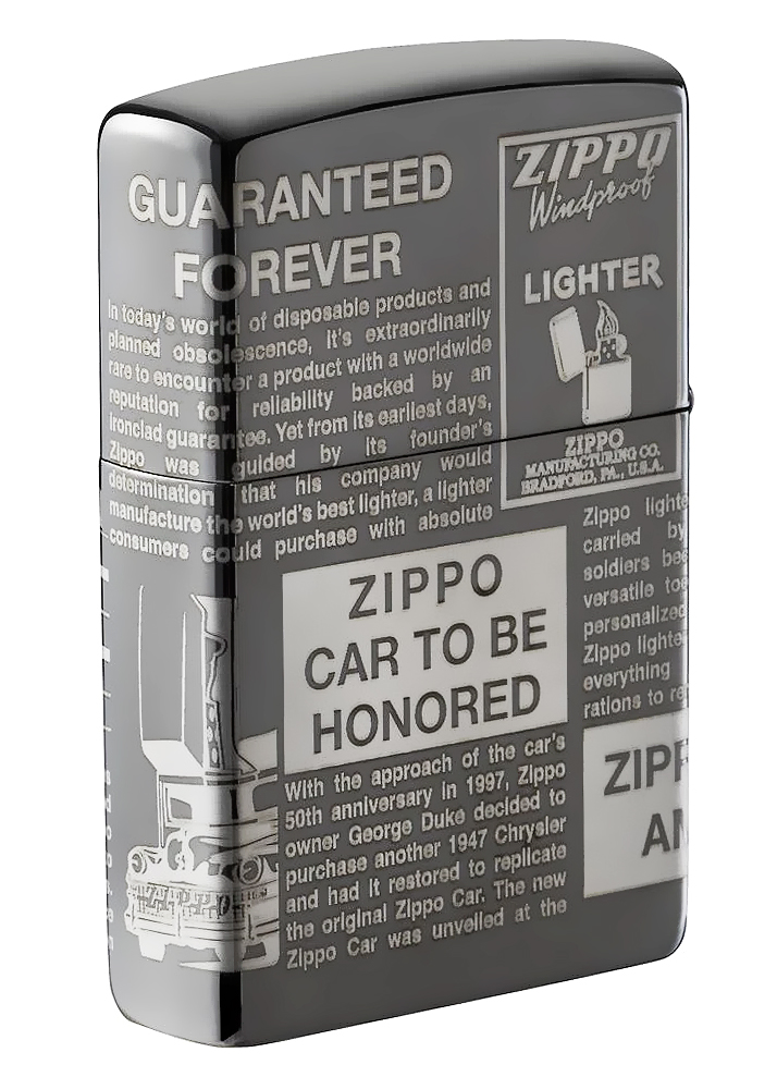 49049 Зажигалка Zippo Newsprint Design, Black Ice