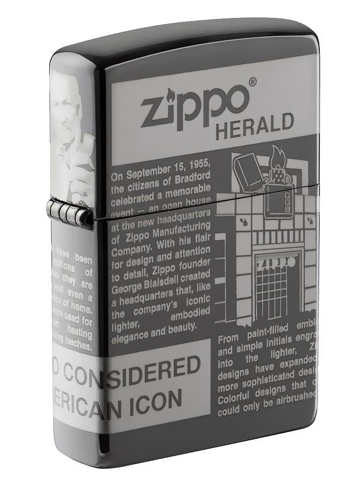49049 Зажигалка Zippo Newsprint Design, Black Ice49049 Зажигалка Zippo Newsprint Design, Black Ice