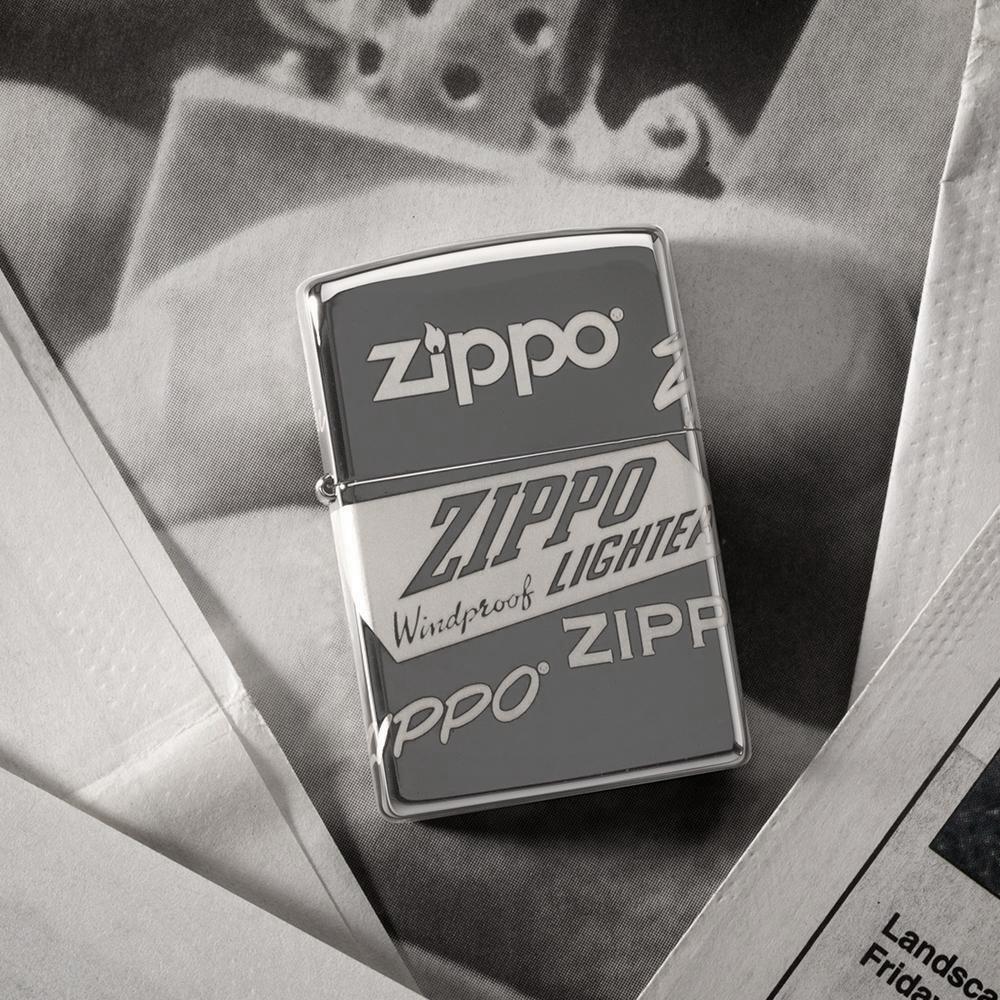 49051 Зажигалка Zippo Logo Design, Black Ice баннер