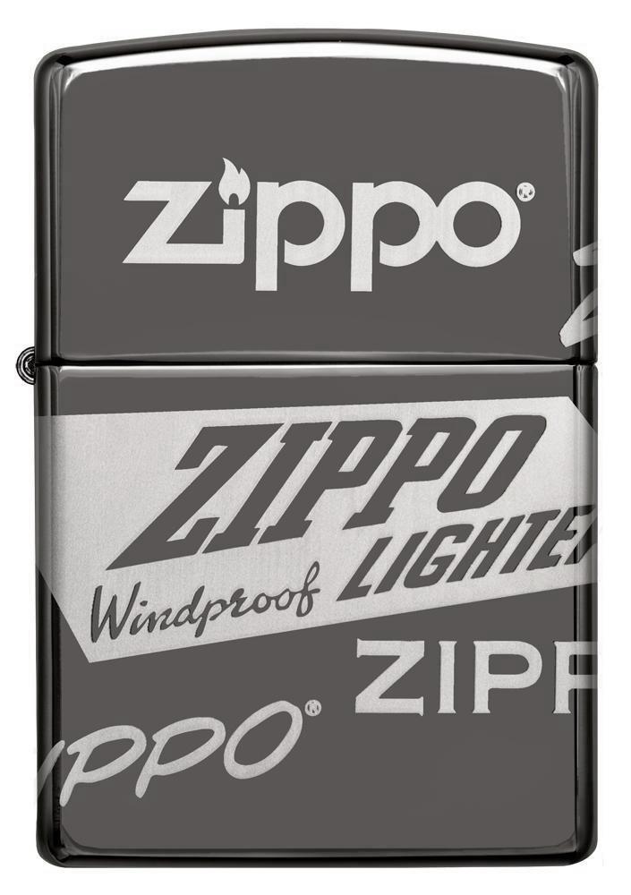 49051 Зажигалка Zippo Logo Design, Black Ice