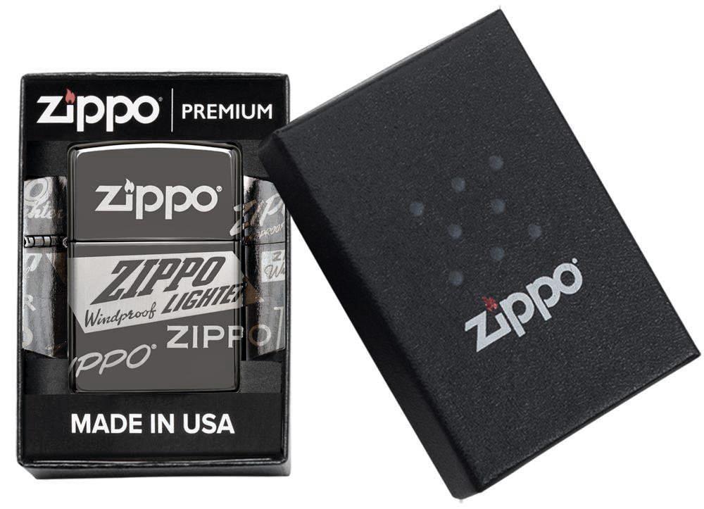 49051 Зажигалка Zippo Logo Design, Black Ice упаковка