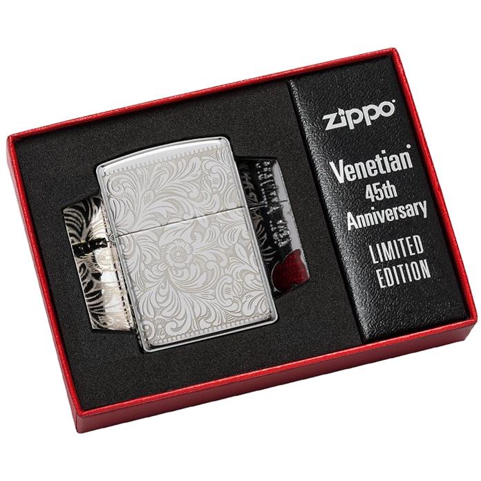 49053 Зажигалка Zippo Venetian 45th Anniversary, Armor Polish Chrome, в специальной подарочной коробке класса люкс