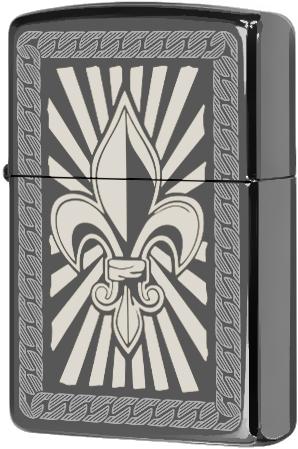 150 Зажигалка Zippo Fleur De Lis (custom), Black Ice